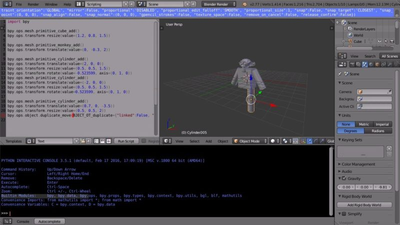 Blender Tutorial Introduction to Python Scripting Writing a