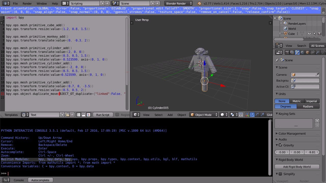 Blender Tutorial Introduction to Python Scripting Writing a Script That Makes a Simple 3D Model ...