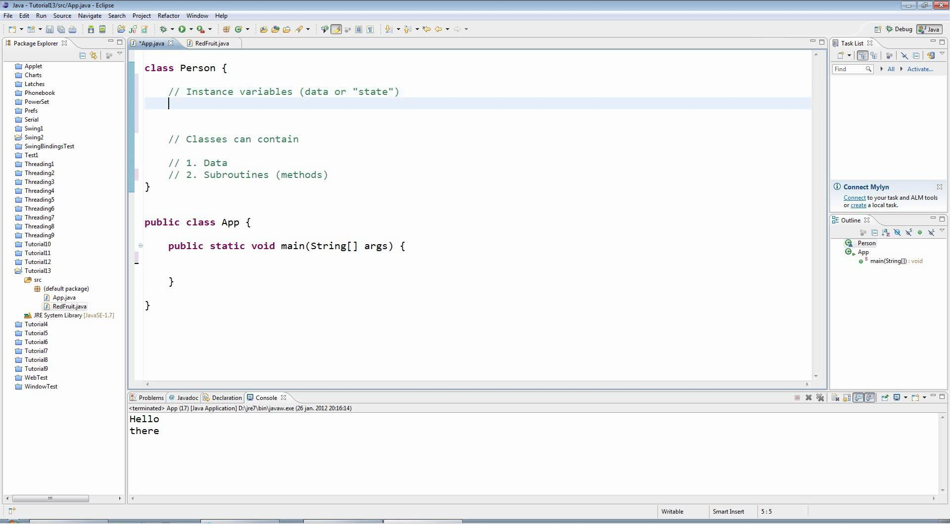 Learn Java Tutorial for Beginners, Part 13: Classes and