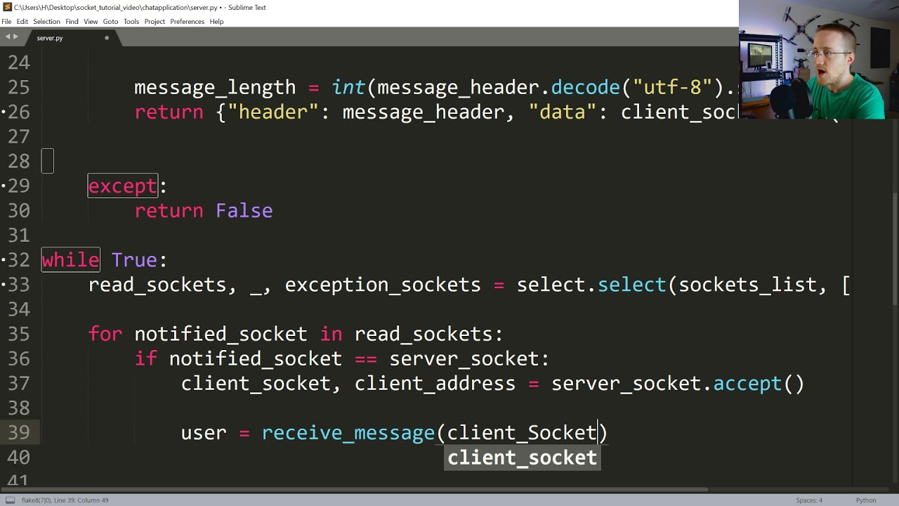 Socket Chatroom server – Creating chat application with sockets in Python