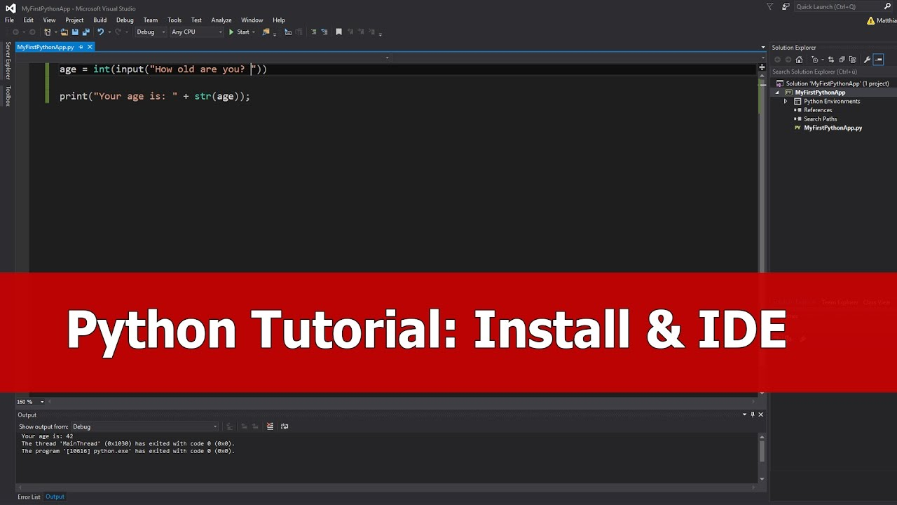 Python Tutorial for Beginners: Install for Visual Studio 2015