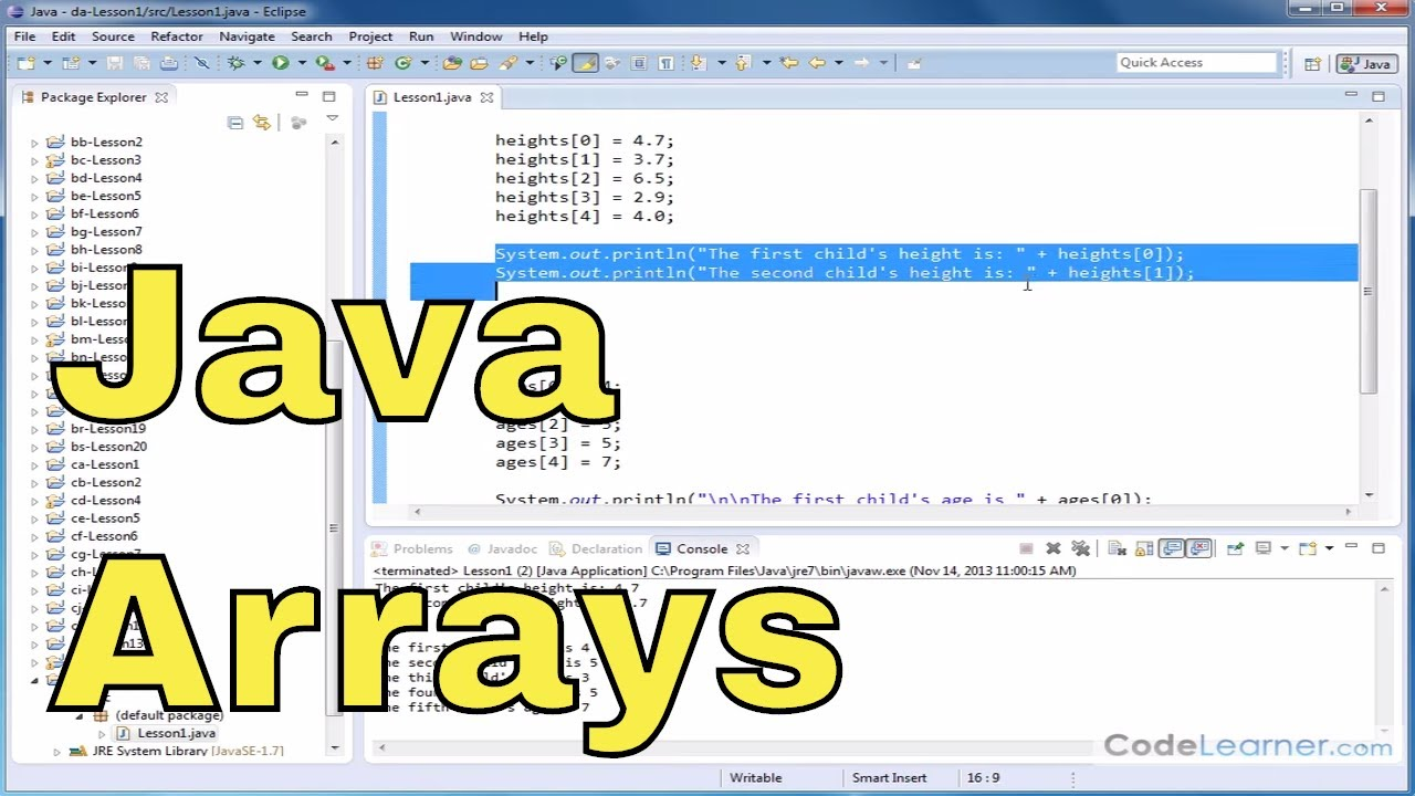 Java Tutorial – 01 – Declaring Arrays & Accessing Elements