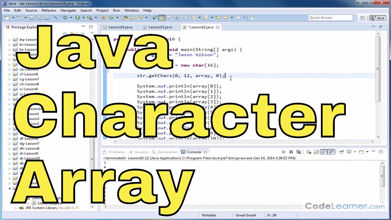 Java Tutorial – 16 – Read Characters from a String into a Char Array