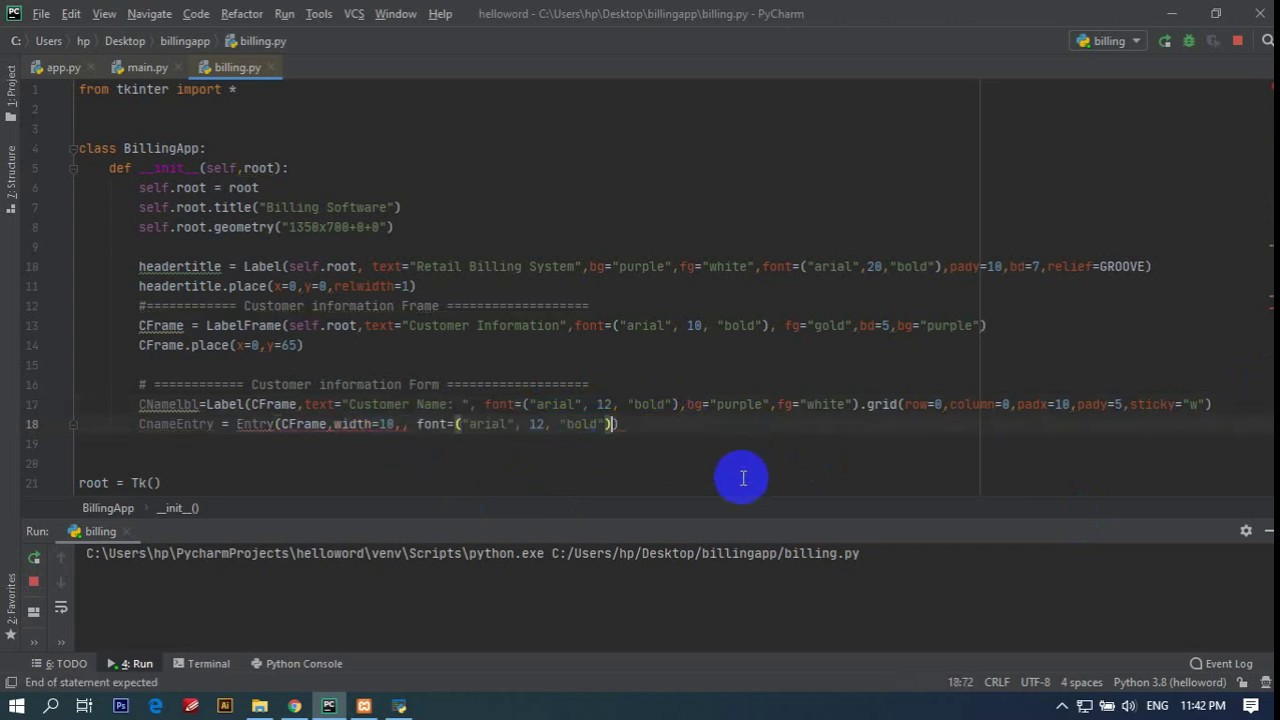Retail Billing Software/System using Tkinter Python tutorial in Bangla – Part -1