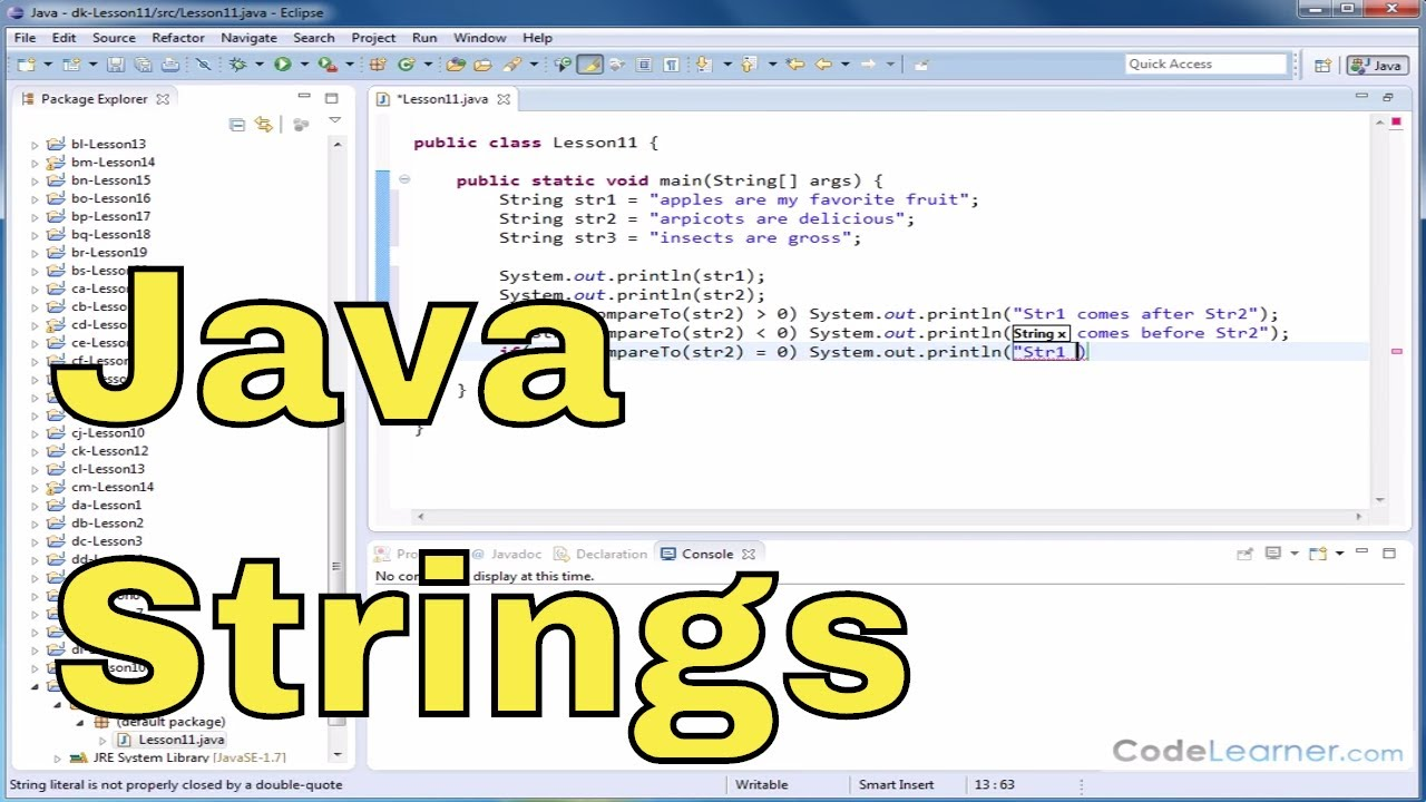Java Tutorial 11 – Comparing Two Strings