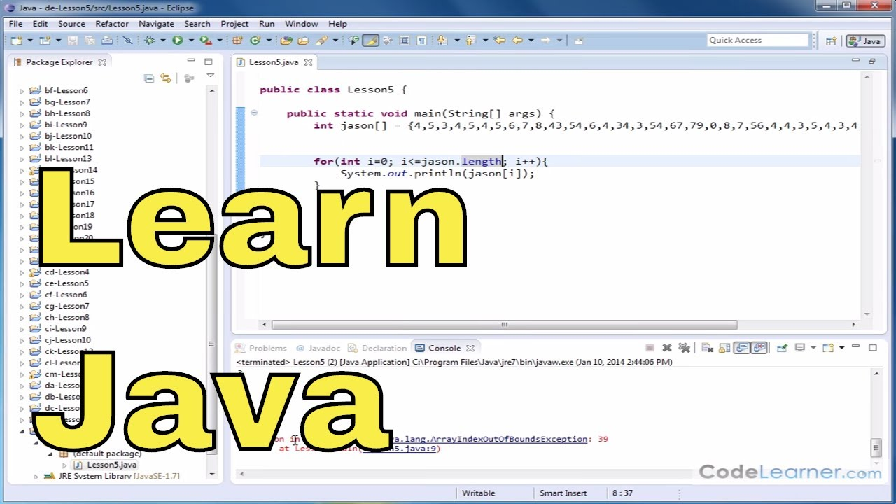 Java Tutorial – 05 – Using Array Length Instance Variable