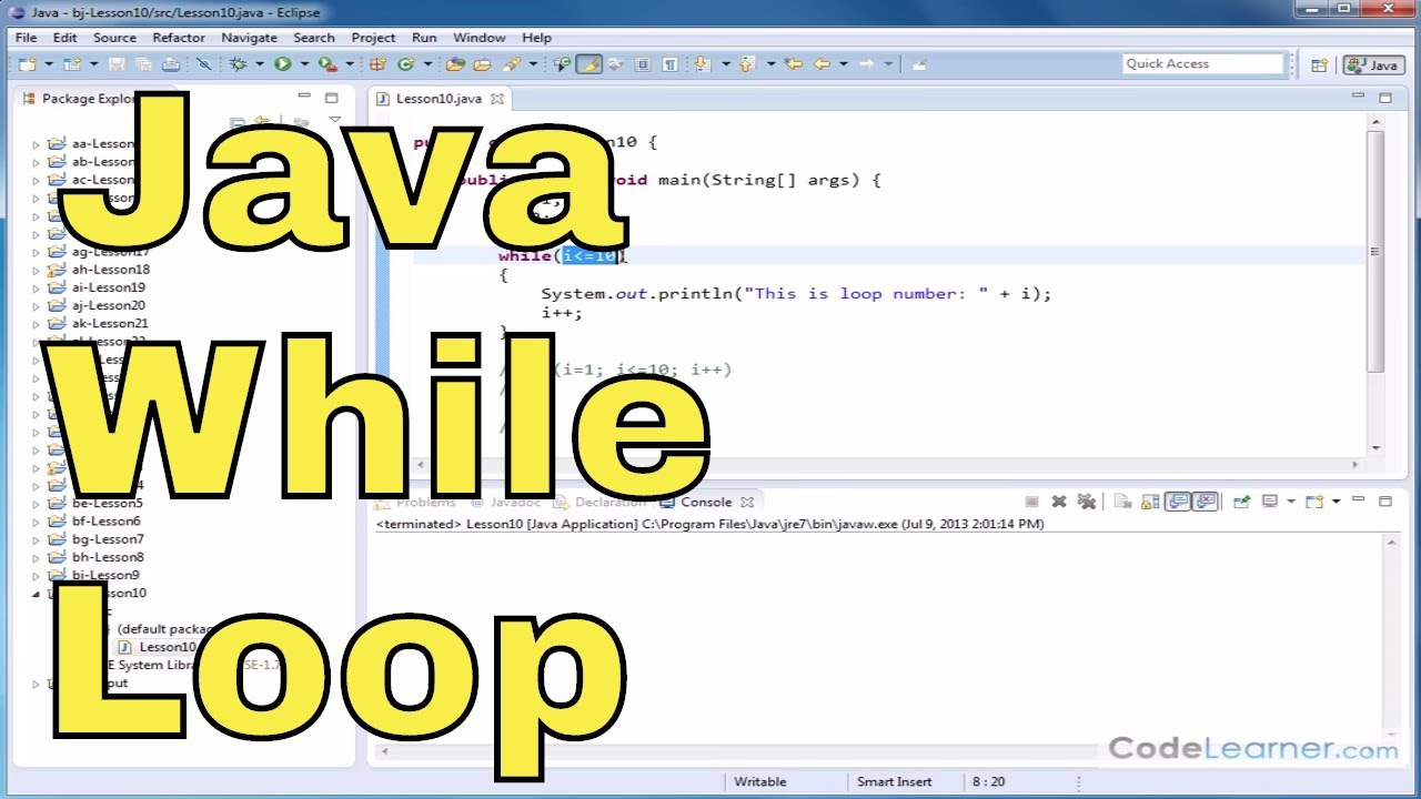 Java Tutorial – 10 – The While Loop
