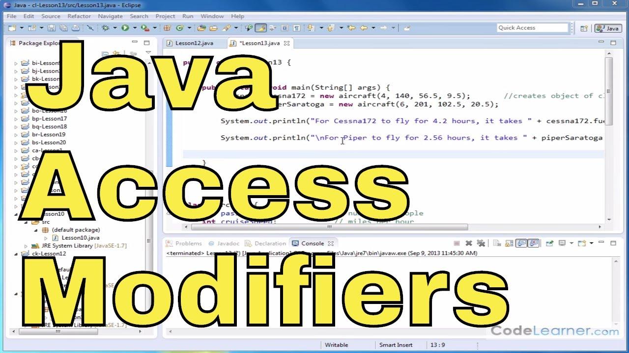 Java Tutorial – 13 – Public and Private Access Modifiers