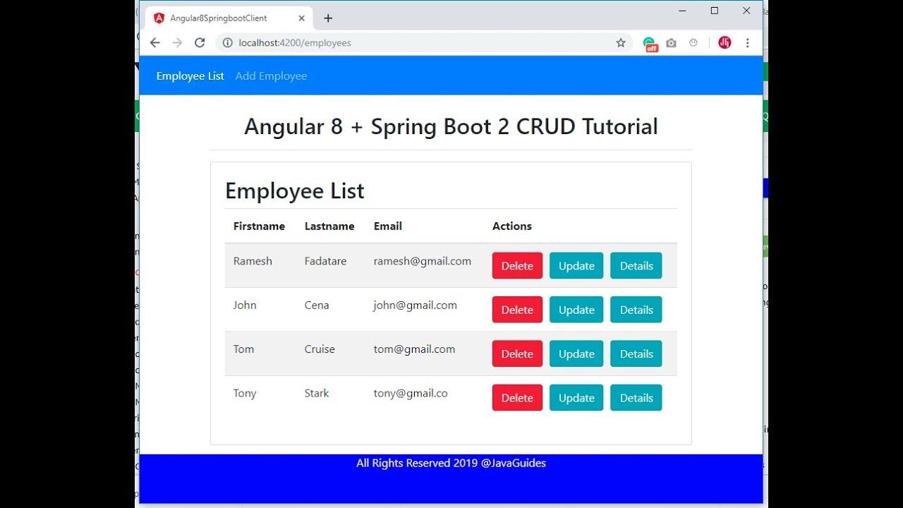 Angular 8 + Spring Boot CRUD Example Tutorial