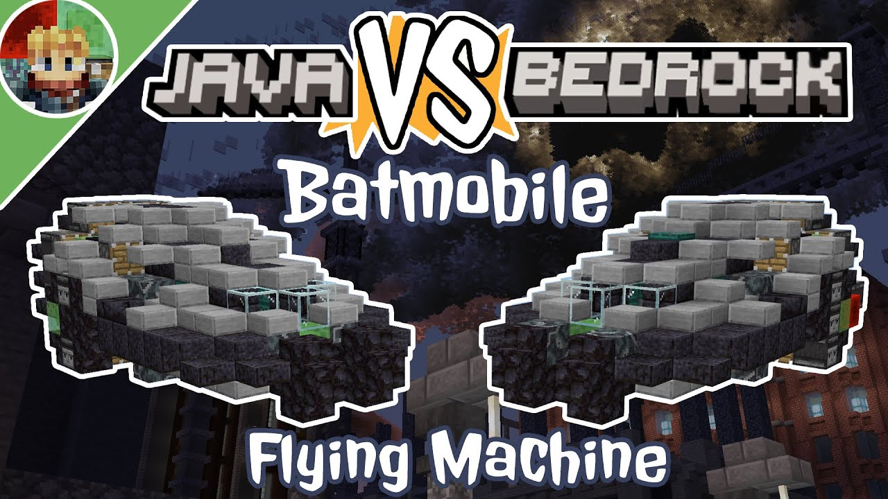 Minecraft: JAVA VS BEDROCK Batmobile Flying Machine Tutorial!!