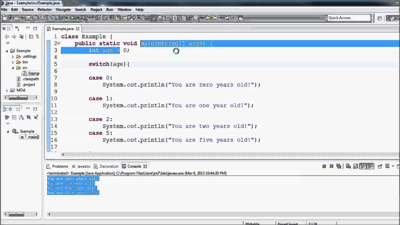 Java Tutorial – 13 – Switch (case) Statement