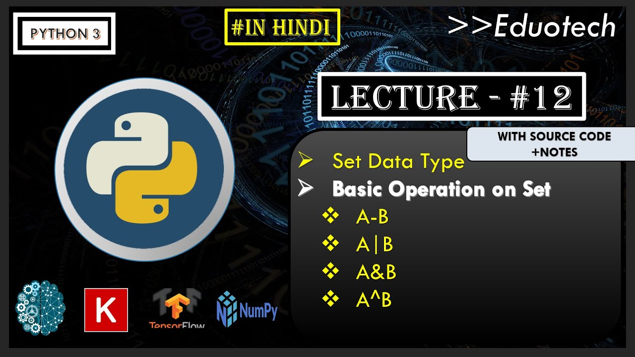 Python Tutorial | set data type in python | Eduotech | #13
