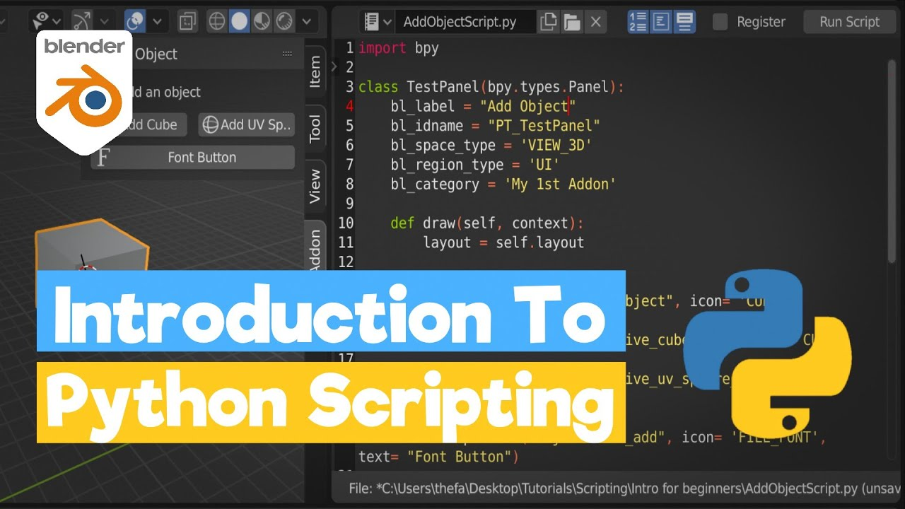 Blender Python Tutorial: An Introduction to Scripting [learn python for beginners- bpy]